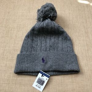 Polo Ralph Lauren Gray Cable Knit Pom Hat Beanie